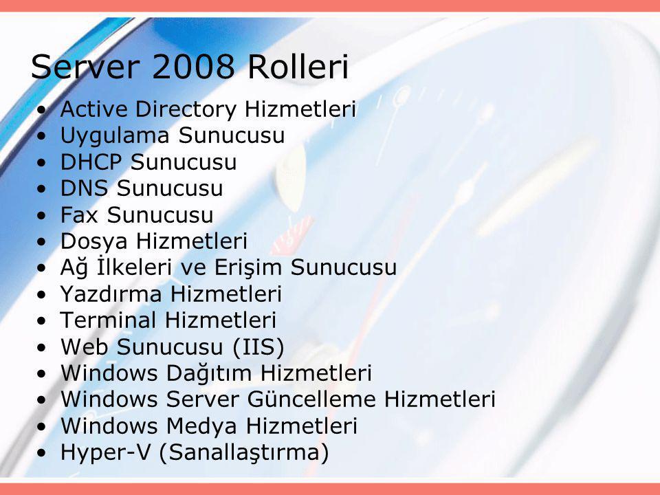 Server 2008 Rolleri Active Directory Hizmetleri Uygulama Sunucusu