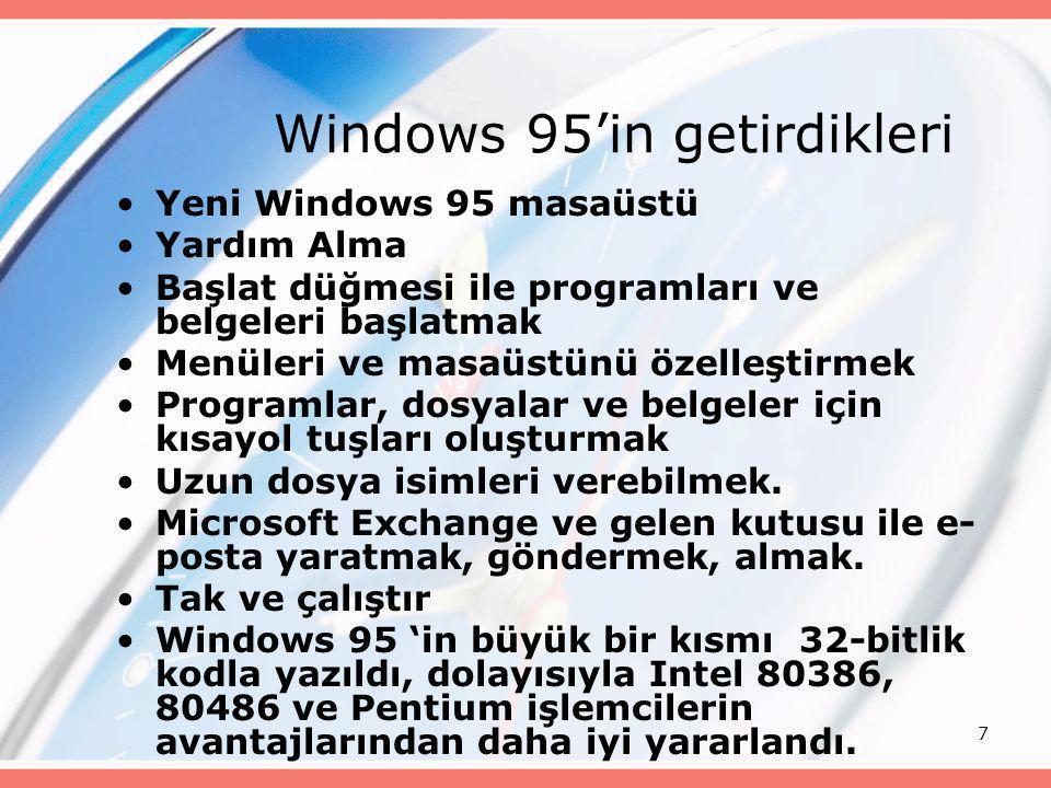 Windows 95'in getirdikleri