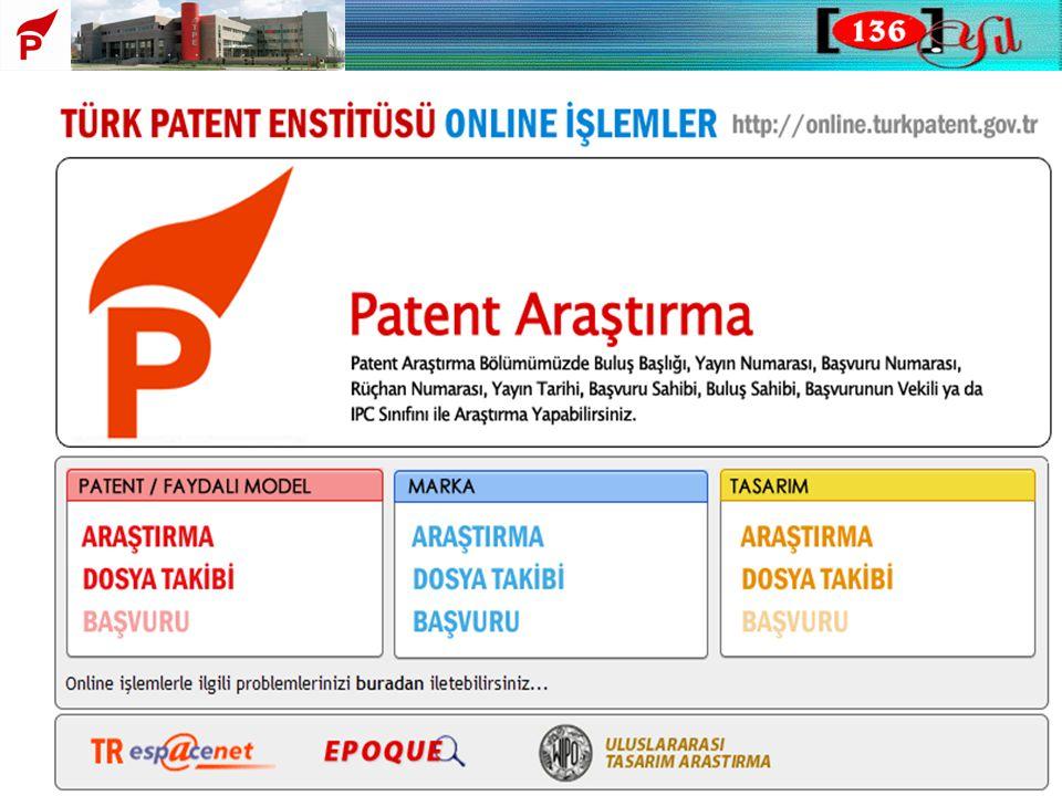 Bu slaytta Enstitümüzün ana sayfasından online işlemler bölümünden erişilebilinen Patent Araştırma ekranını görüyoruz.