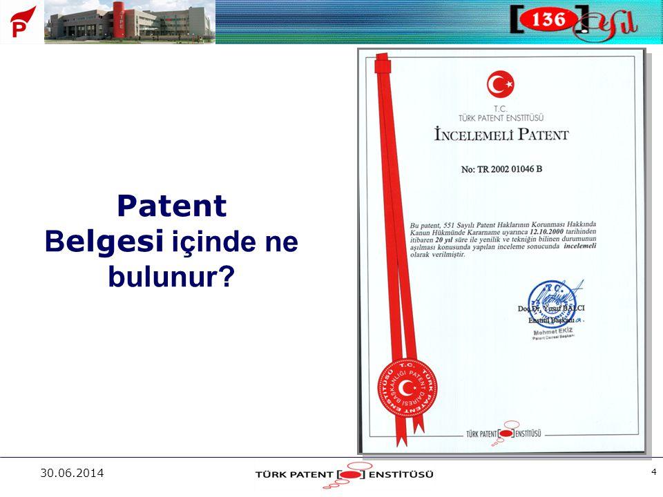 Patent Belgesi içinde ne bulunur