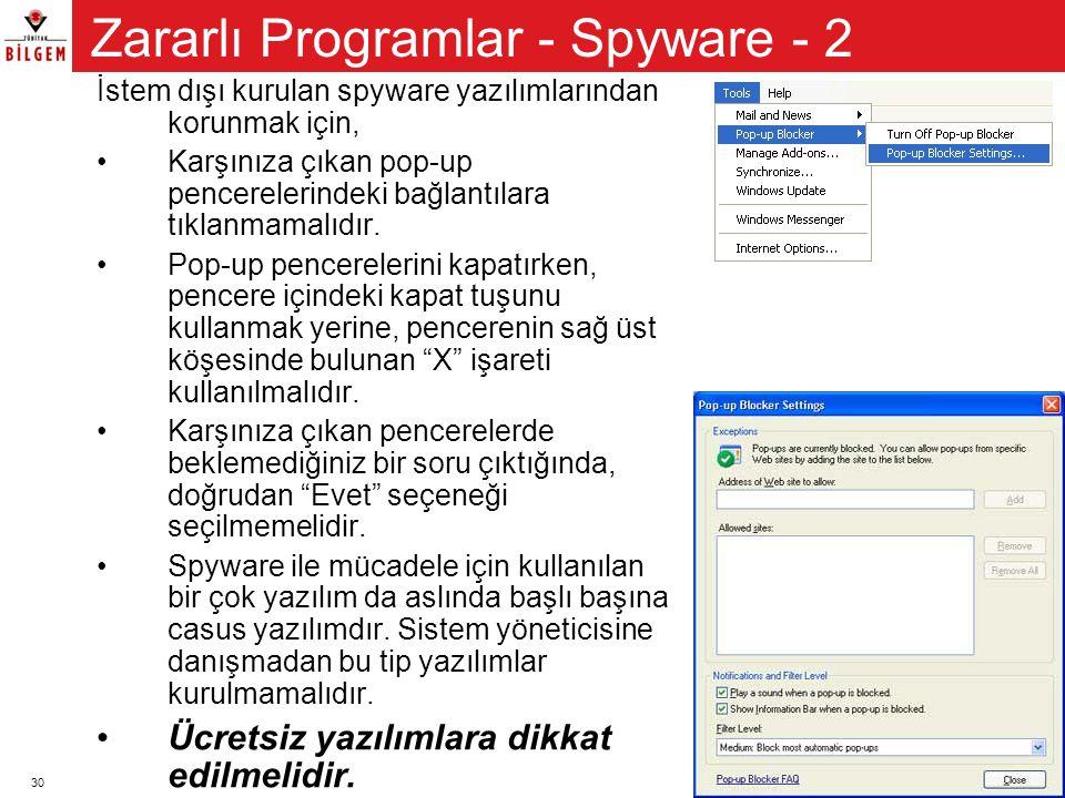 Zararlı Programlar - Spyware - 2