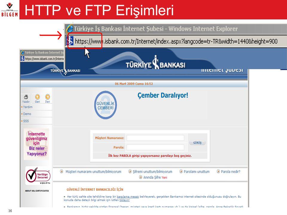 HTTP ve FTP Erişimleri HTTP ve FTP veri alışverişini sağlayan erişim protokolleridir.