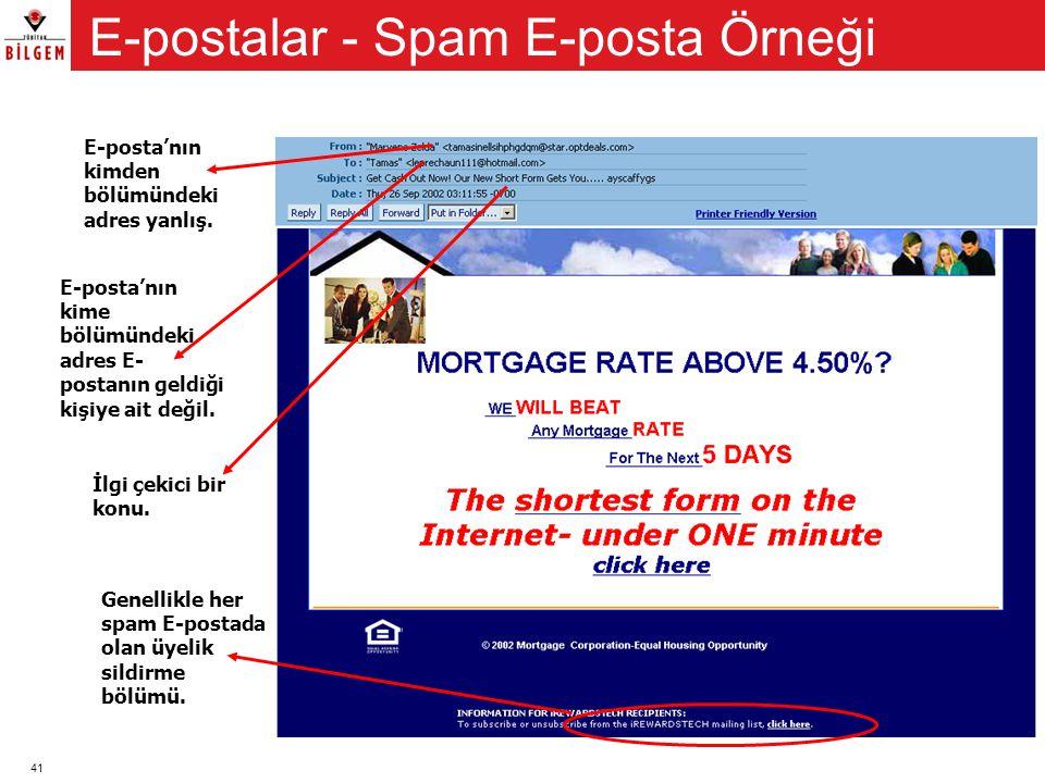 E-postalar - Spam E-posta Örneği