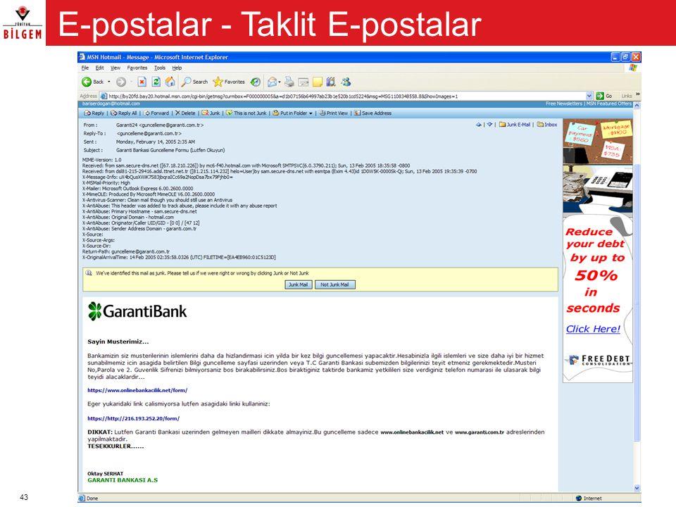 E-postalar - Taklit E-postalar