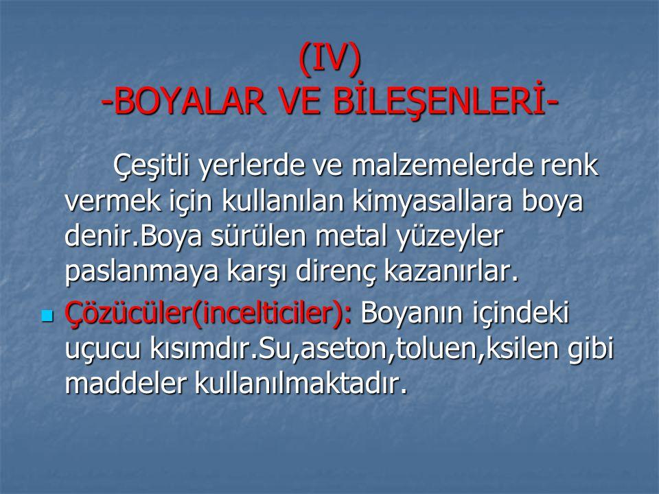 (IV) -BOYALAR VE BİLEŞENLERİ-