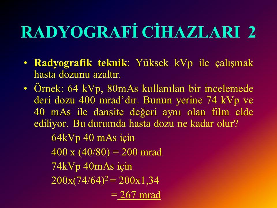 RADYOGRAFİ CİHAZLARI 2 Radyografik teknik: Yüksek kVp ile çalışmak hasta dozunu azaltır.