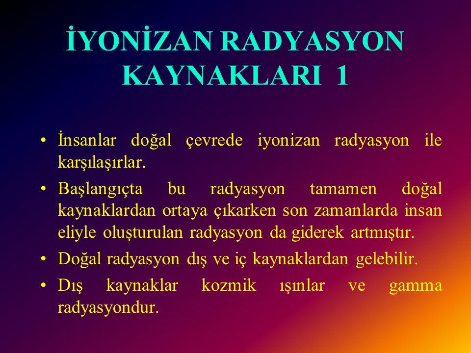 İYONİZAN RADYASYON KAYNAKLARI 1