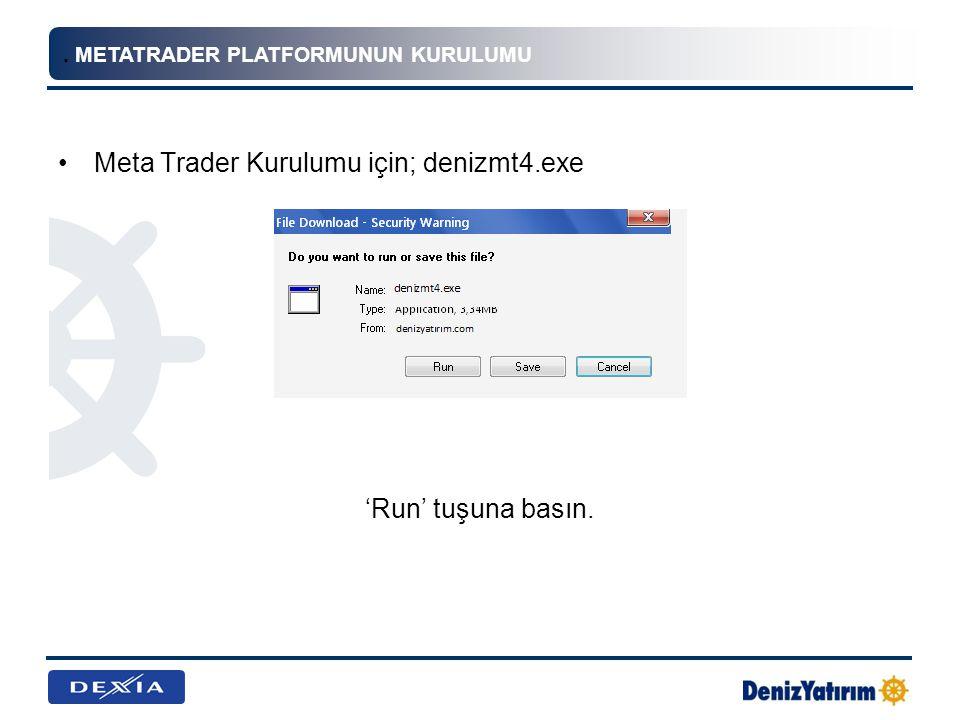 Meta Trader Kurulumu için; denizmt4.exe
