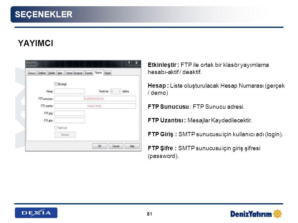 seçenekler YayImcI. Etkinleştir : FTP ile ortak bir klasör yayımlama hesabı-aktif / deaktif.