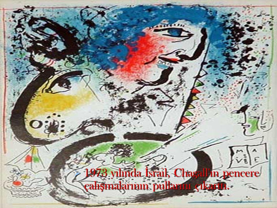 1973 yılında İsrail, Chagall ın pencere çalışmalarının pullarını çıkarttı.