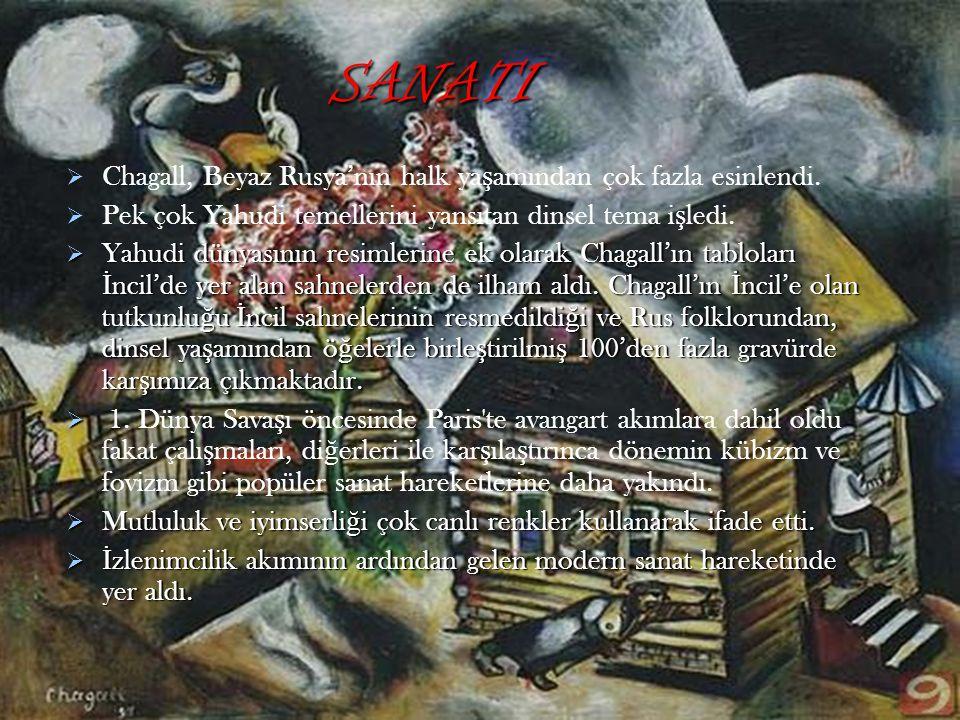 SANATI Chagall, Beyaz Rusya'nın halk yaşamından çok fazla esinlendi.
