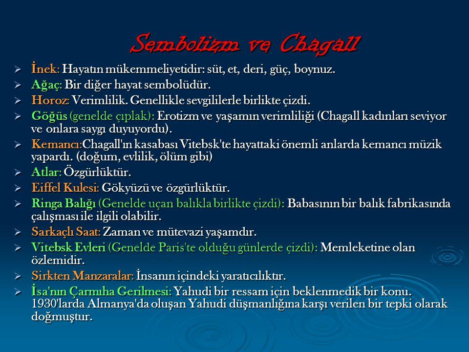 Sembolizm ve Chagall İnek: Hayatın mükemmeliyetidir: süt, et, deri, güç, boynuz. Ağaç: Bir diğer hayat sembolüdür.