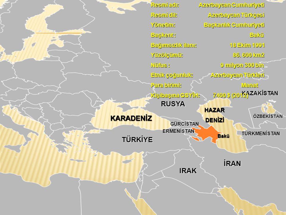RUSYA KARADENİZ TÜRKİYE İRAN IRAK Resmi adı: Azerbaycan Cumhuriyeti