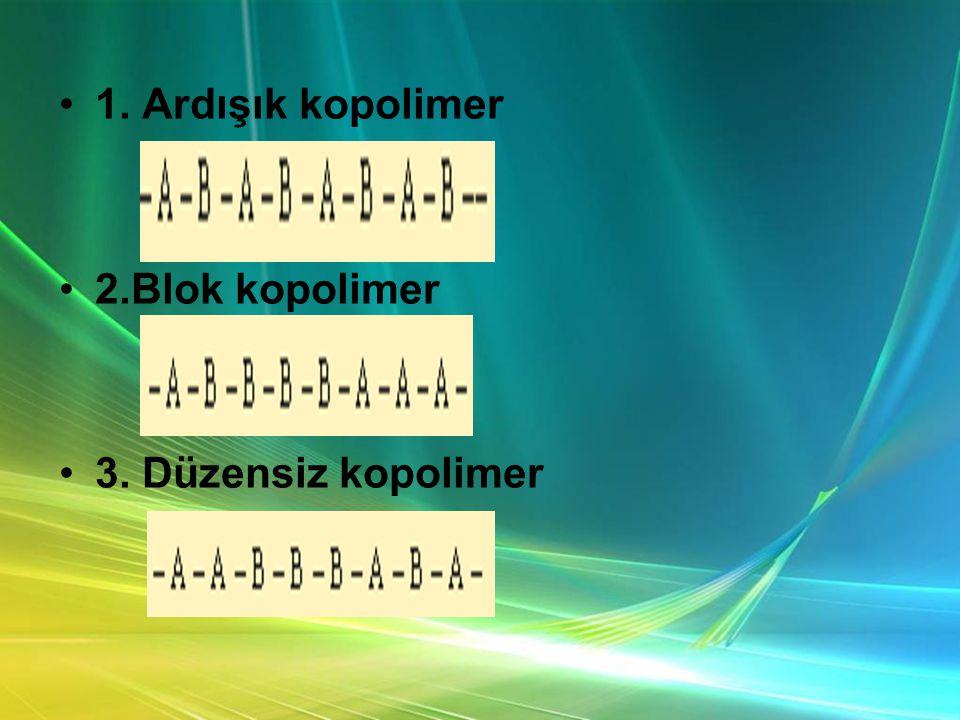 1. Ardışık kopolimer 2.Blok kopolimer 3. Düzensiz kopolimer
