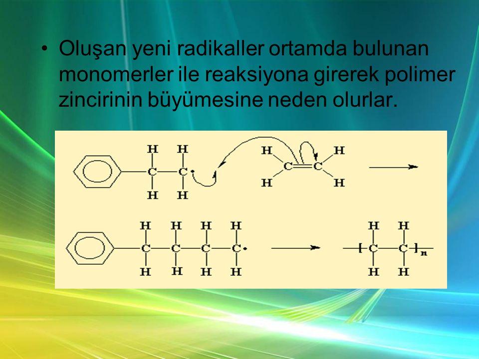 Oluşan yeni radikaller ortamda bulunan monomerler ile reaksiyona girerek polimer zincirinin büyümesine neden olurlar.