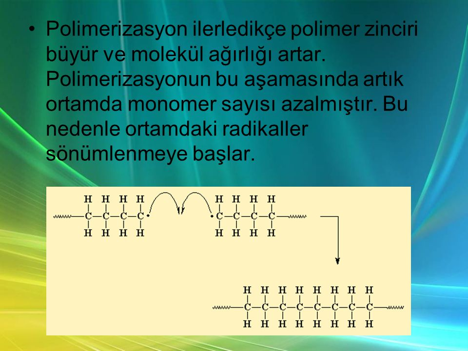 Polimerizasyon ilerledikçe polimer zinciri büyür ve molekül ağırlığı artar.