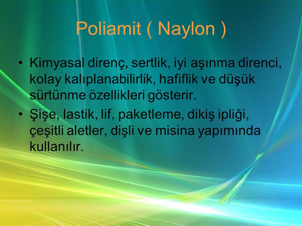 Poliamit ( Naylon ) Kimyasal direnç, sertlik, iyi aşınma direnci, kolay kalıplanabilirlik, hafiflik ve düşük sürtünme özellikleri gösterir.