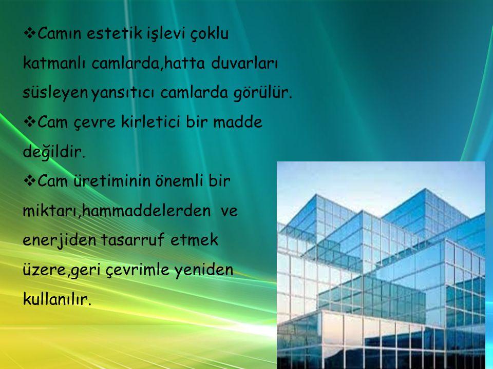 Camın estetik işlevi çoklu katmanlı camlarda,hatta duvarları süsleyen yansıtıcı camlarda görülür.