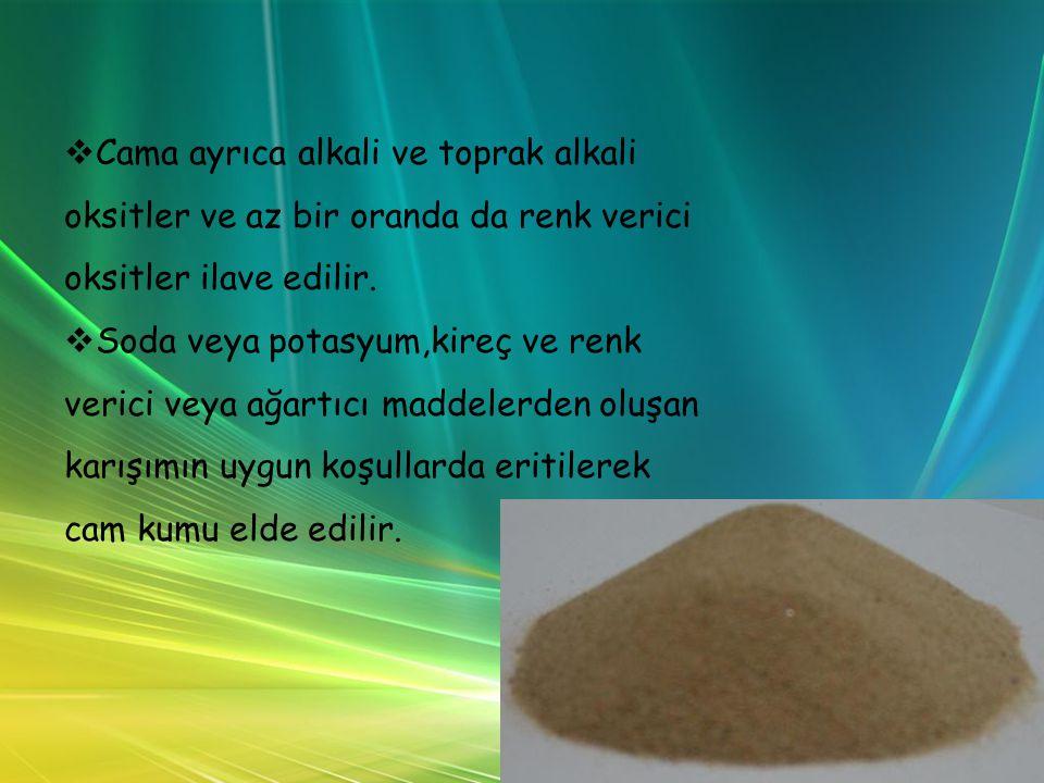 Cama ayrıca alkali ve toprak alkali oksitler ve az bir oranda da renk verici oksitler ilave edilir.