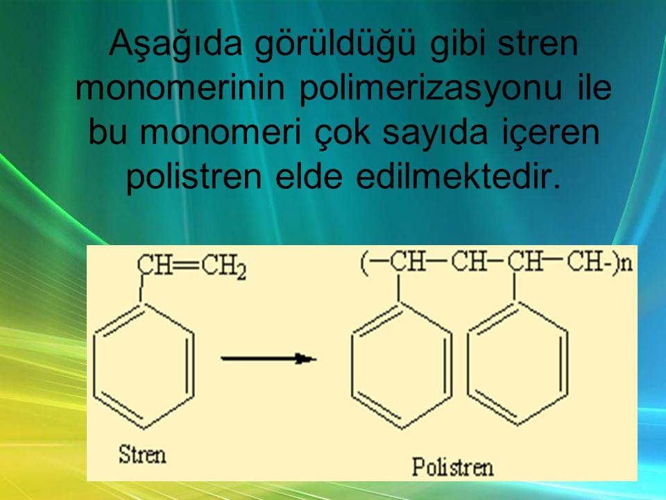 Aşağıda görüldüğü gibi stren monomerinin polimerizasyonu ile bu monomeri çok sayıda içeren polistren elde edilmektedir.