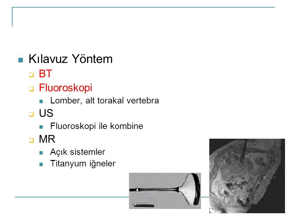 Kılavuz Yöntem BT Fluoroskopi US MR Lomber, alt torakal vertebra