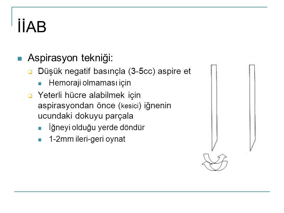 İİAB Aspirasyon tekniği: Düşük negatif basınçla (3-5cc) aspire et