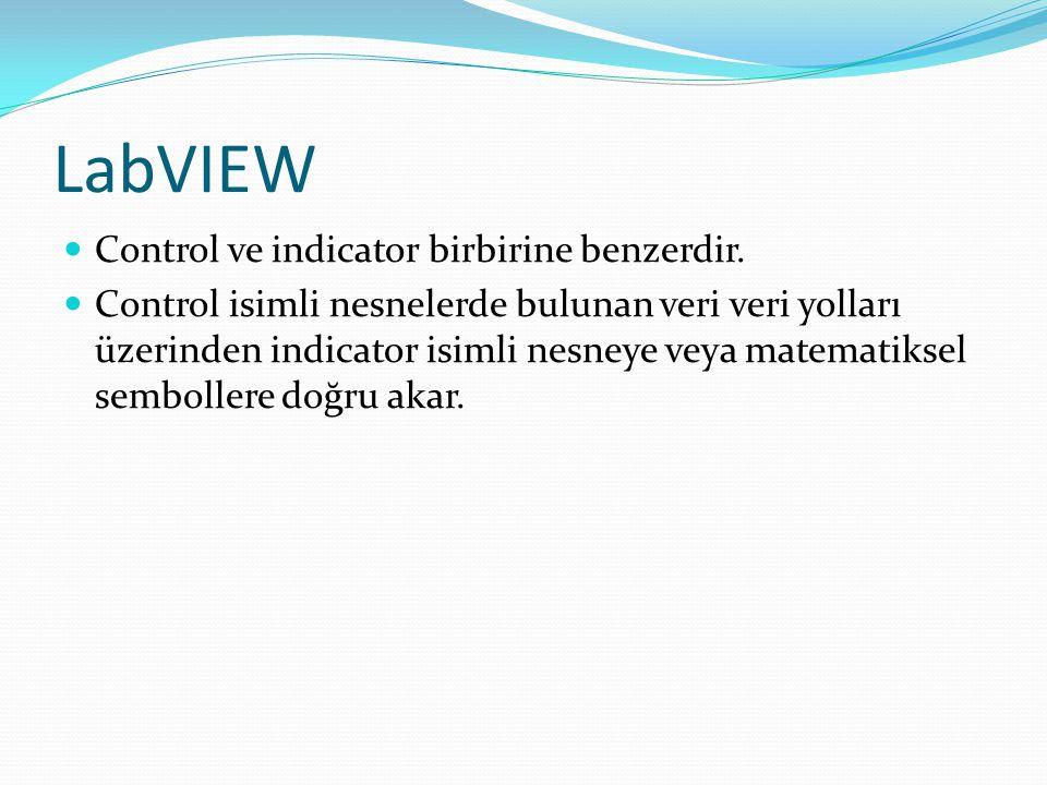 LabVIEW Control ve indicator birbirine benzerdir.