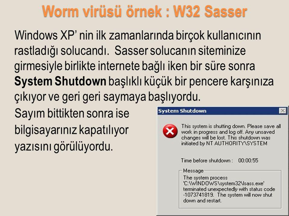 Worm virüsü örnek : W32 Sasser