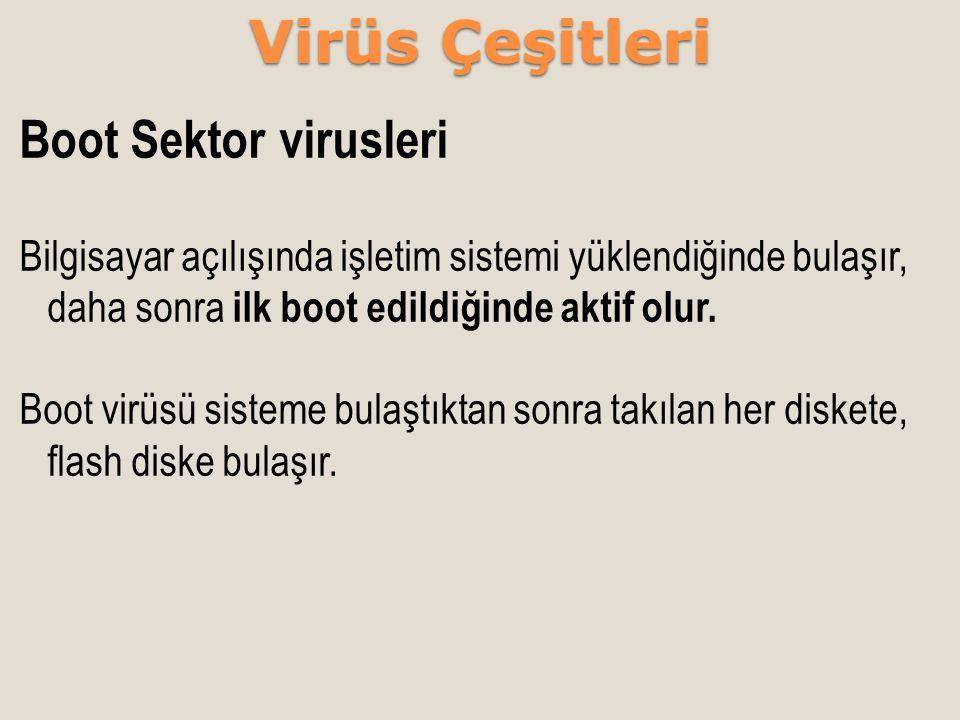 Virüs Çeşitleri Boot Sektor virusleri
