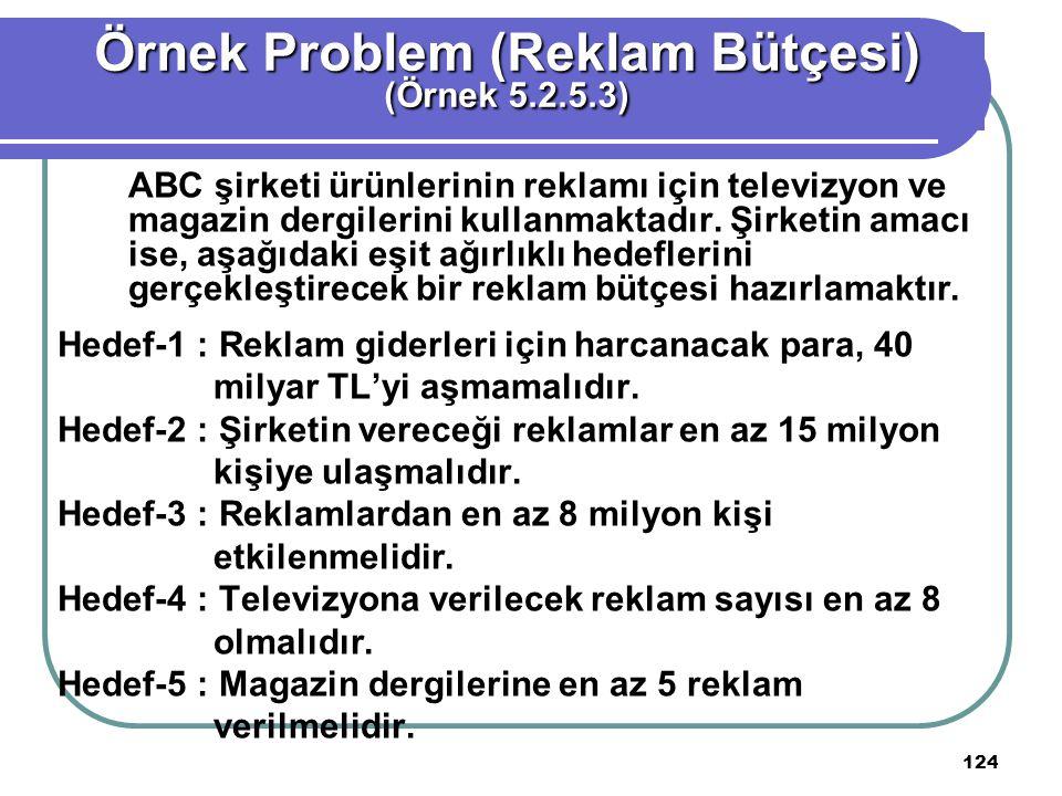 Örnek Problem (Reklam Bütçesi)