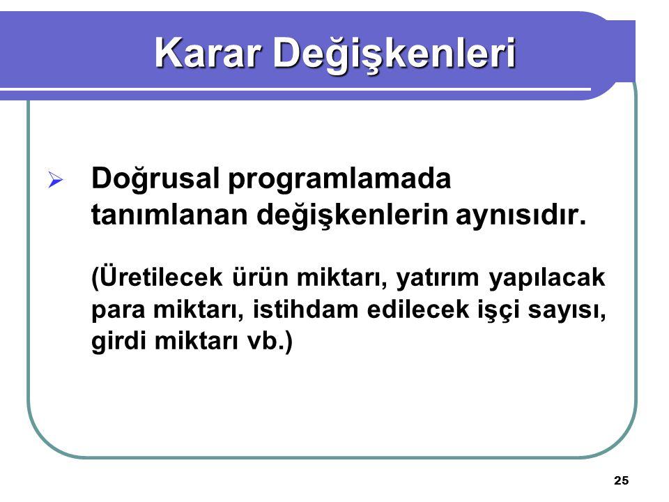 Karar Değişkenleri Doğrusal programlamada tanımlanan değişkenlerin aynısıdır.