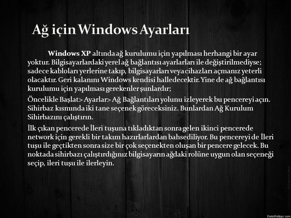 Ağ için Windows Ayarları