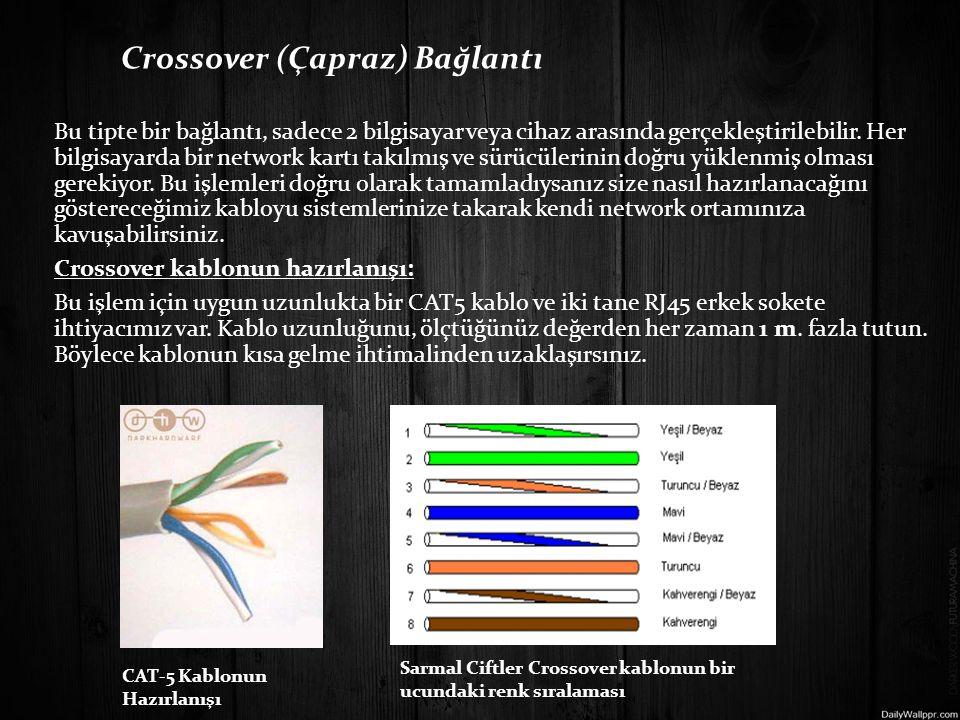 Crossover (Çapraz) Bağlantı Bu tipte bir bağlantı, sadece 2 bilgisayar veya cihaz arasında gerçekleştirilebilir. Her bilgisayarda bir network kartı takılmış ve sürücülerinin doğru yüklenmiş olması gerekiyor. Bu işlemleri doğru olarak tamamladıysanız size nasıl hazırlanacağını göstereceğimiz kabloyu sistemlerinize takarak kendi network ortamınıza kavuşabilirsiniz. Crossover kablonun hazırlanışı: Bu işlem için uygun uzunlukta bir CAT5 kablo ve iki tane RJ45 erkek sokete ihtiyacımız var. Kablo uzunluğunu, ölçtüğünüz değerden her zaman 1 m. fazla tutun. Böylece kablonun kısa gelme ihtimalinden uzaklaşırsınız.