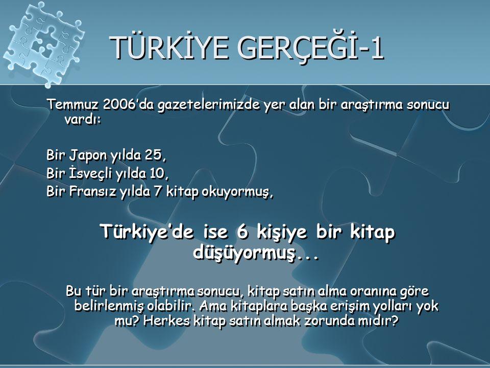 Türkiye'de ise 6 kişiye bir kitap düşüyormuş...