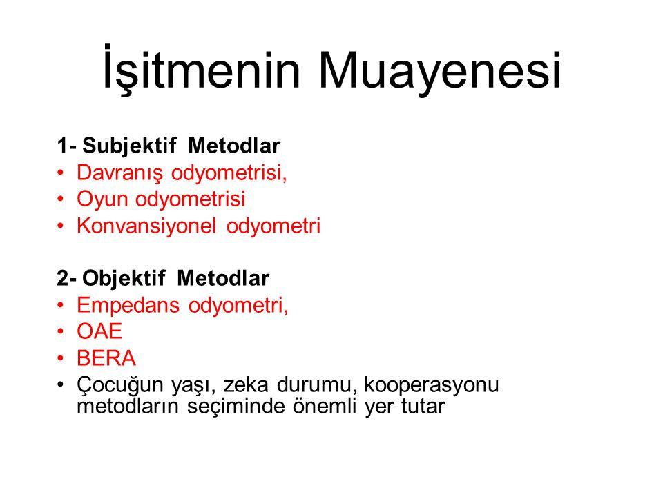 İşitmenin Muayenesi 1- Subjektif Metodlar Davranış odyometrisi,