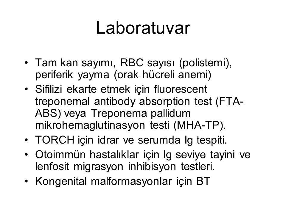 Laboratuvar Tam kan sayımı, RBC sayısı (polistemi), periferik yayma (orak hücreli anemi)