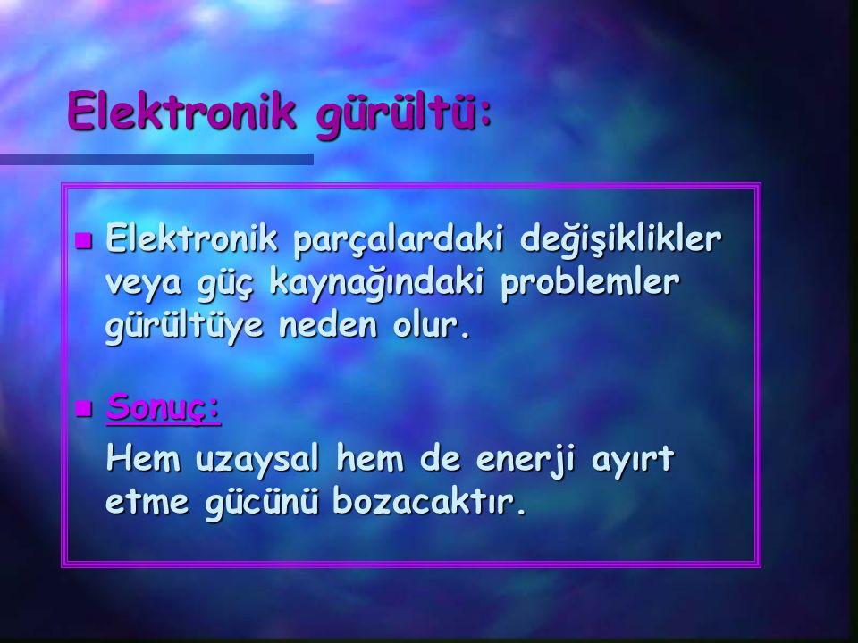 Elektronik gürültü: Elektronik parçalardaki değişiklikler veya güç kaynağındaki problemler gürültüye neden olur.