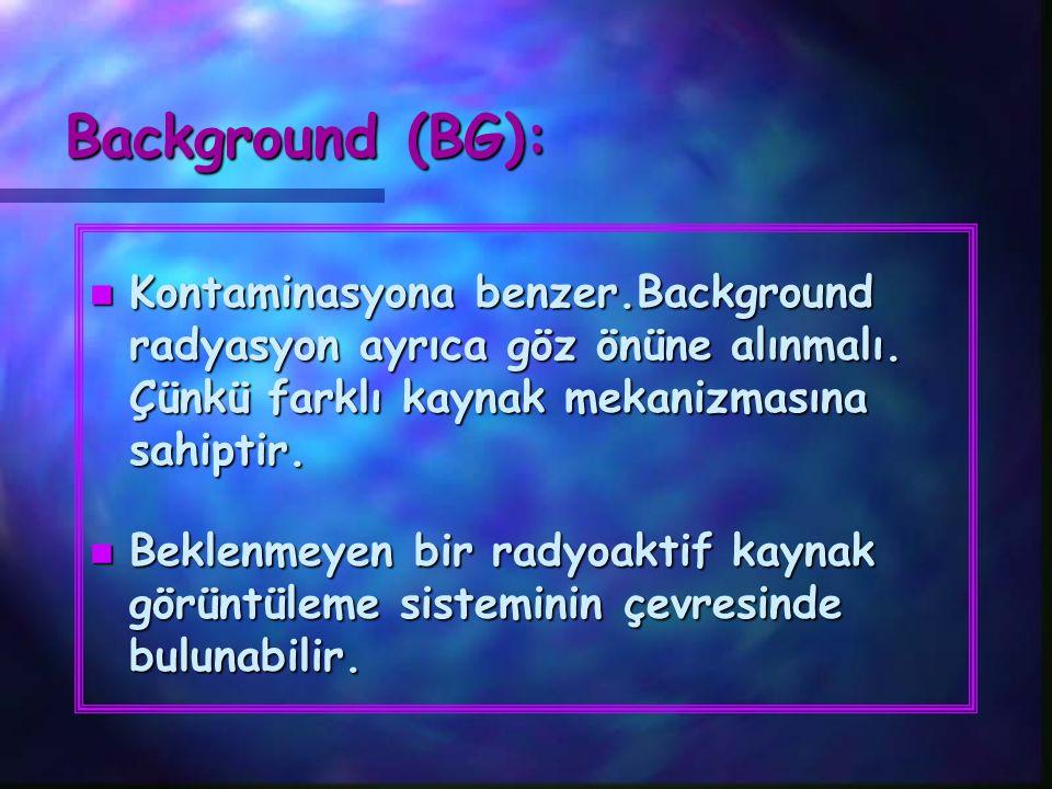 Background (BG): Kontaminasyona benzer.Background radyasyon ayrıca göz önüne alınmalı. Çünkü farklı kaynak mekanizmasına sahiptir.