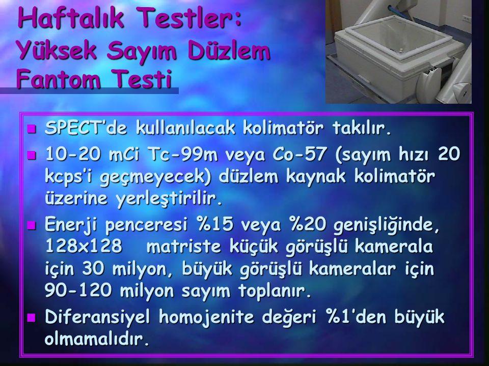 Haftalık Testler: Yüksek Sayım Düzlem Fantom Testi