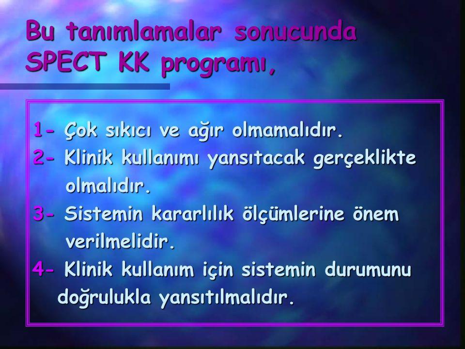 Bu tanımlamalar sonucunda SPECT KK programı,