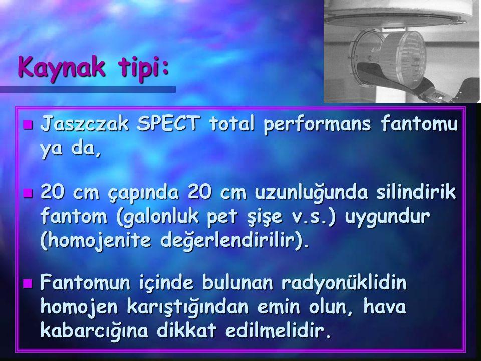 Kaynak tipi: Jaszczak SPECT total performans fantomu ya da,