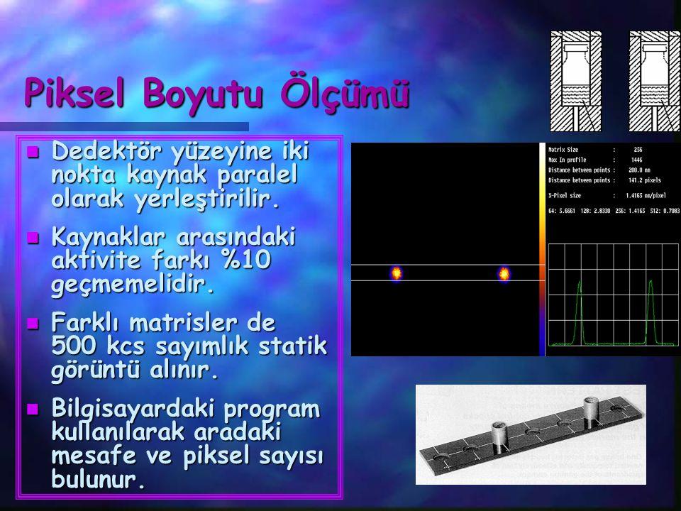 Piksel Boyutu Ölçümü Dedektör yüzeyine iki nokta kaynak paralel olarak yerleştirilir. Kaynaklar arasındaki aktivite farkı %10 geçmemelidir.