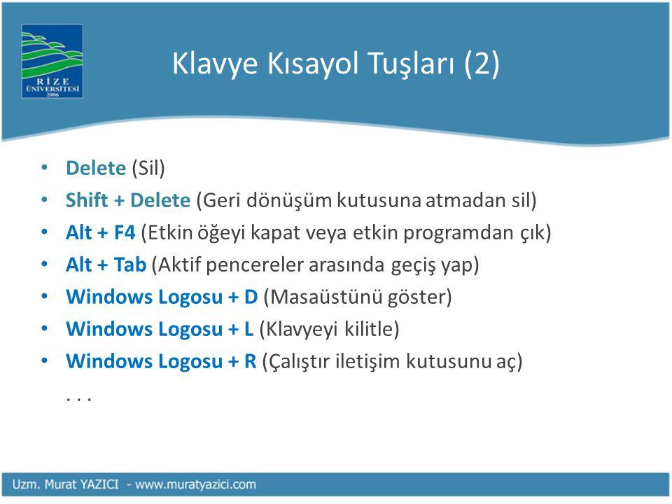Klavye Kısayol Tuşları (2)