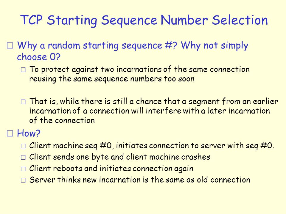 TCP Starting Sequence Number Selection