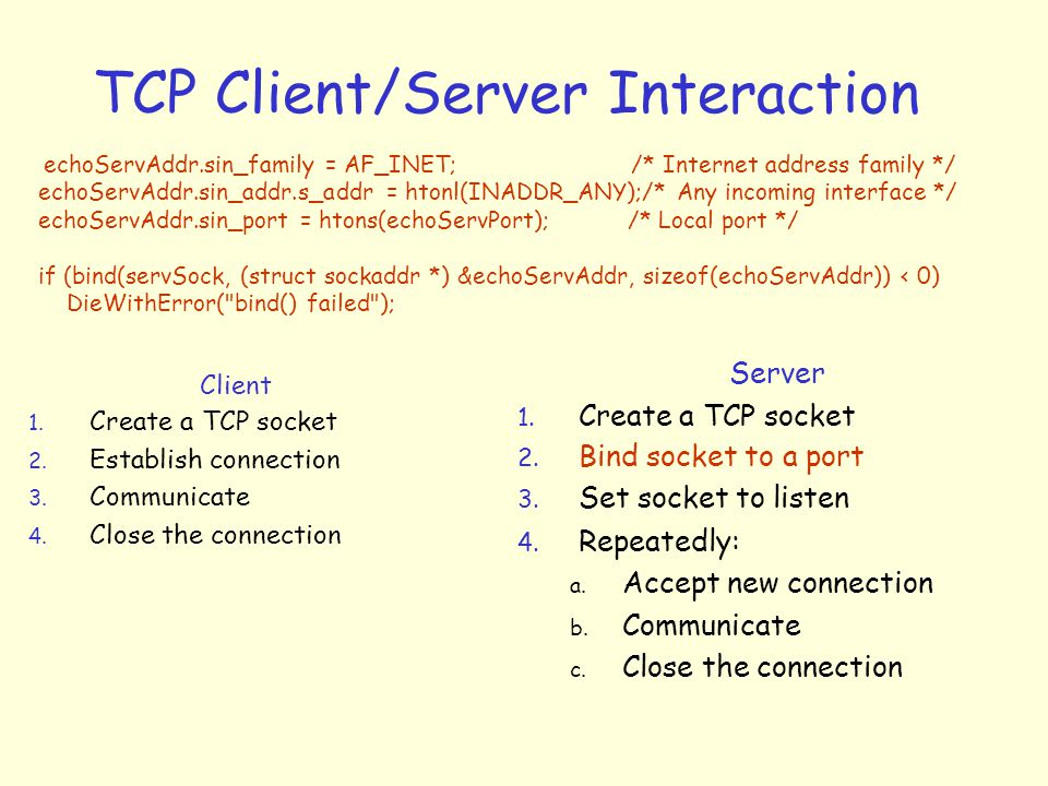 TCP Client/Server Interaction