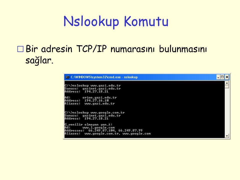Nslookup Komutu Bir adresin TCP/IP numarasını bulunmasını sağlar.