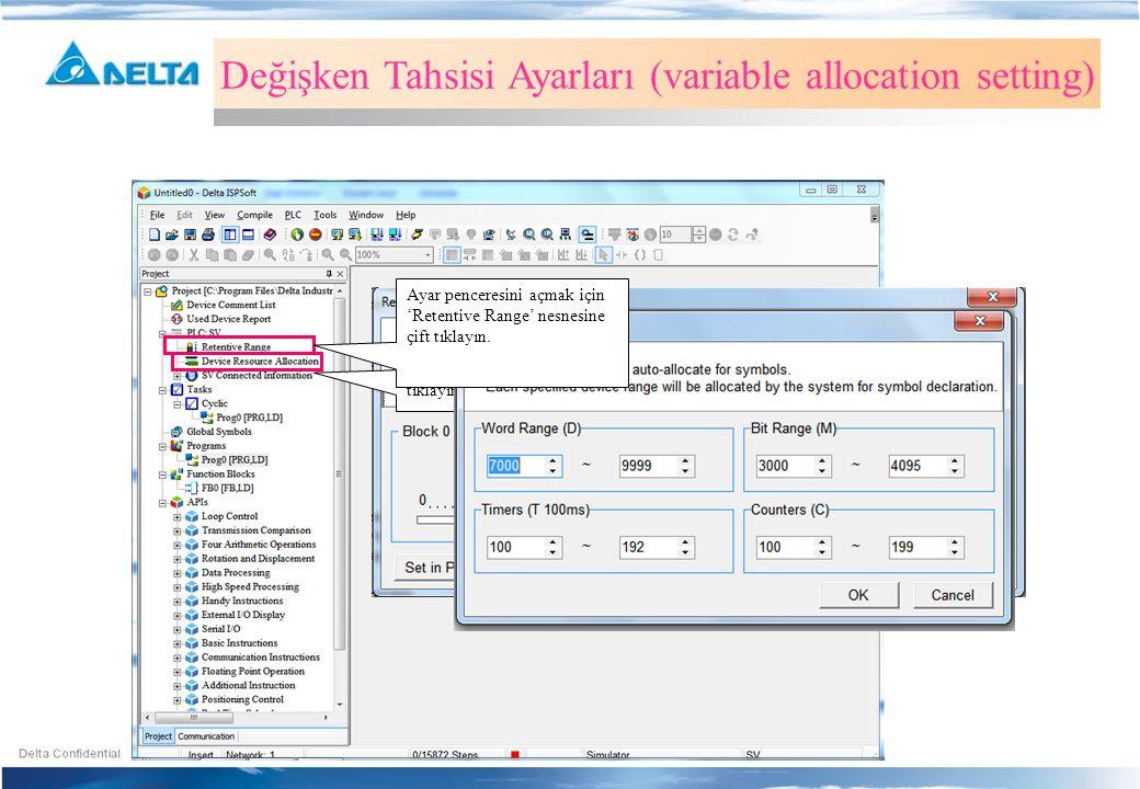Değişken Tahsisi Ayarları (variable allocation setting)