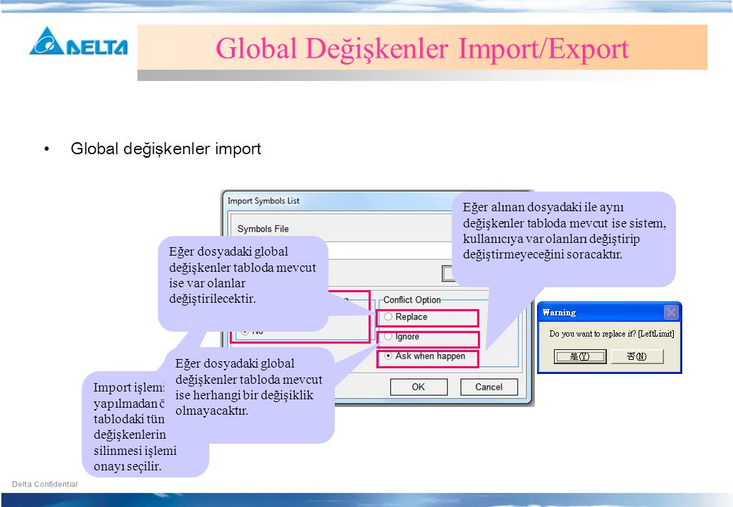 Global Değişkenler Import/Export