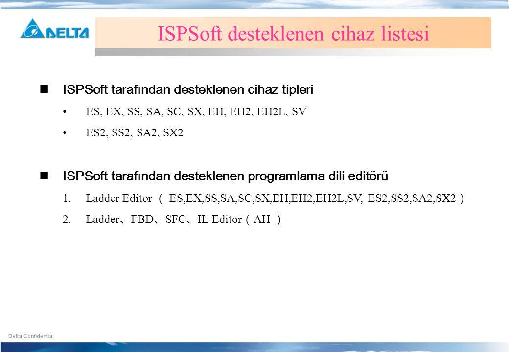 ISPSoft desteklenen cihaz listesi