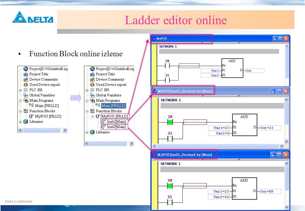 Ladder editor online Function Block online izleme